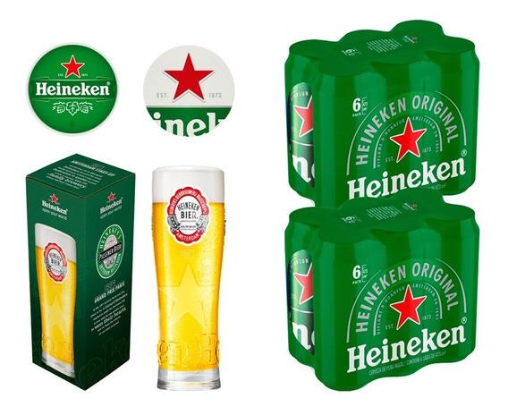 Cervezas 12 Latas Heineken 473cc + 1 Vaso + 2 Posa Vasos