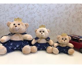 3 Ursos Príncipes G, M, P - Bege/azul Marinho Estampa Coroa