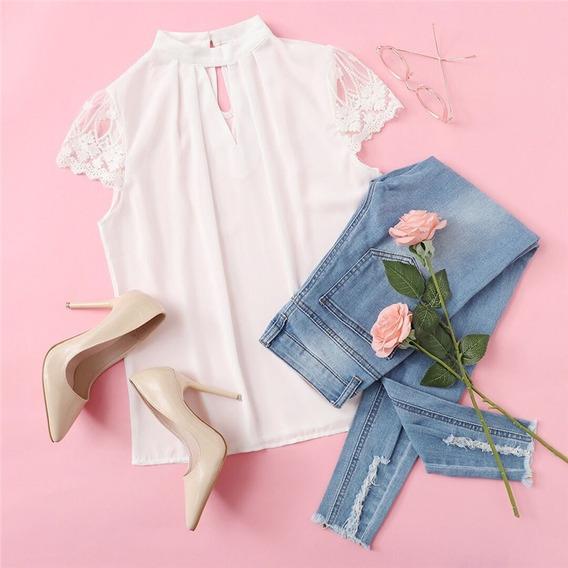 Blusa Elegante Blanca Tallas Xs S M Encaje Nueva Importada