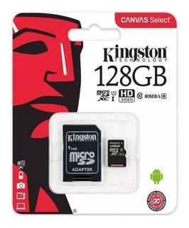 Cartão Micro Sd Kingston Original 128gb Canvas Select 80mbs