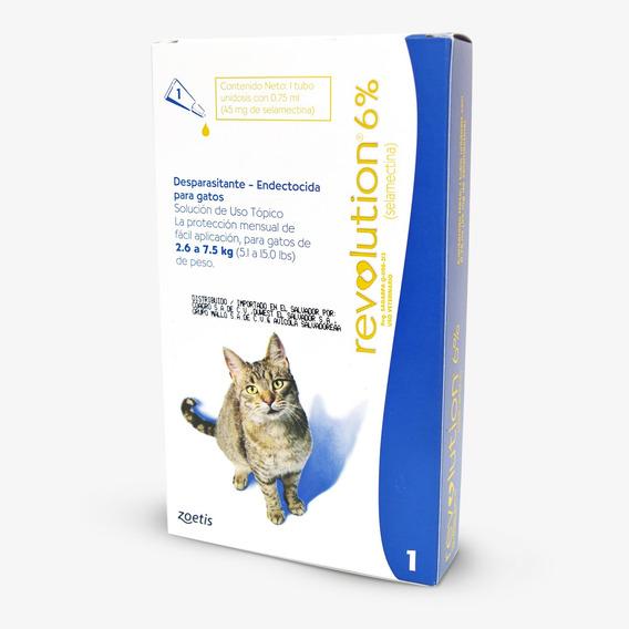 Pipeta Antiparasitaria Gatos Revolution 2,6 A 7,5 Kg