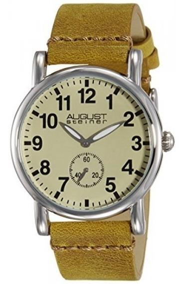 Reloj De Pulsera De Cuero Marrón De Tono Plateado Platead