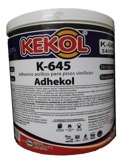 Kekol K645 Adhes. Base Acuosa Piso Vinilico. 8 Kg (2 De 4 K)