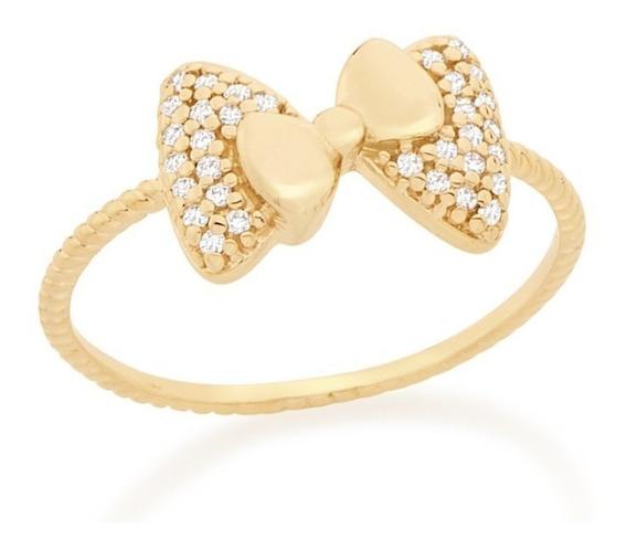 Anel Folheado Ouro Skinny Ring Dois Laços Rommanel 512444