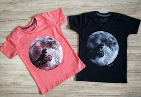 Camiseta Infantil Estampa Dinossauro Na Lua