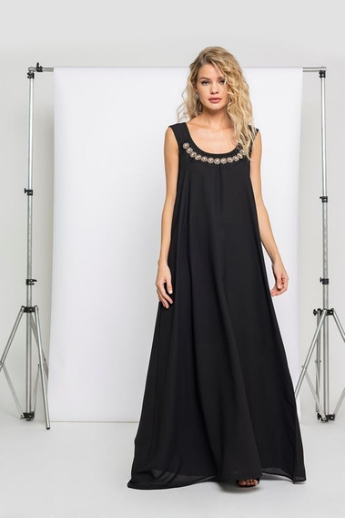 Vestido Negro Suelto Fiesta Noche Casamiento Brillos Oferta