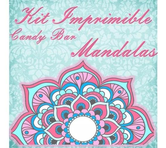 Kit Imprimible Mandalas Aqua 15 Quince 50 Años Golosinas