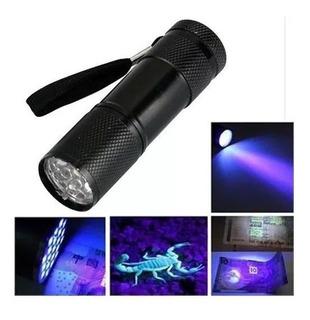 Lanterna Luz Negra 9 Leds Uv Ultravioleta Nota Falsa Fluor