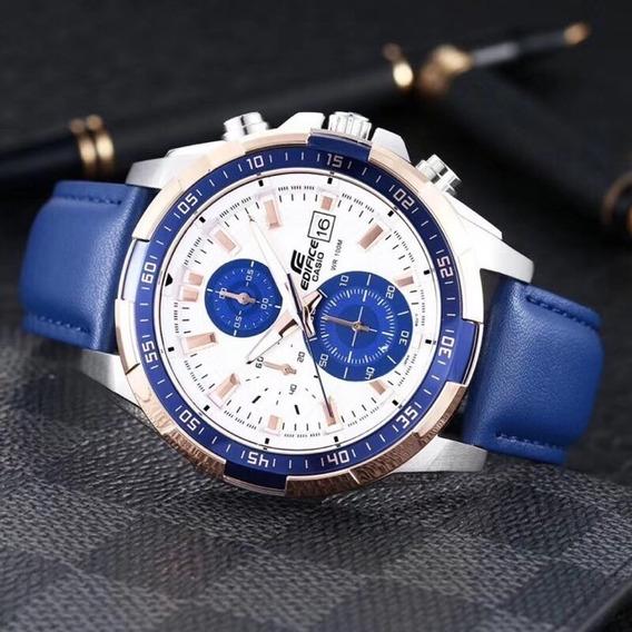 Relógio Masculino Casio Edifice Ef-558d. Pulseira De Couro