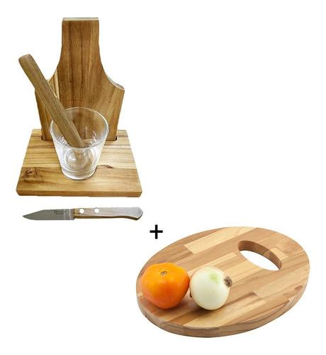 Kit Caipirinha Em Madeira + Tabua Oval Wood Primewood