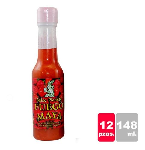 Salsa De Chile Habanero Rojo, Fuego Maya 148 Ml C/12 Pzas