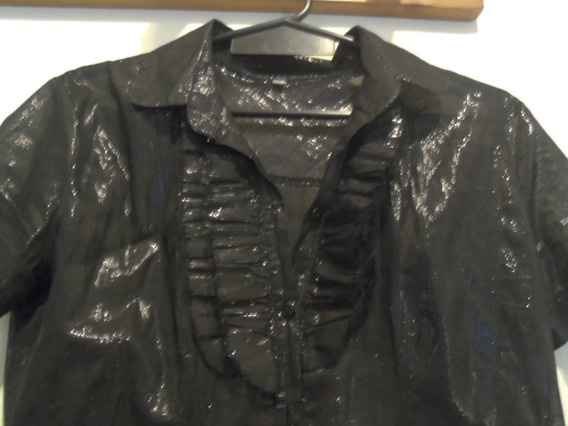 Espectacular Camisa Negra Brillosa