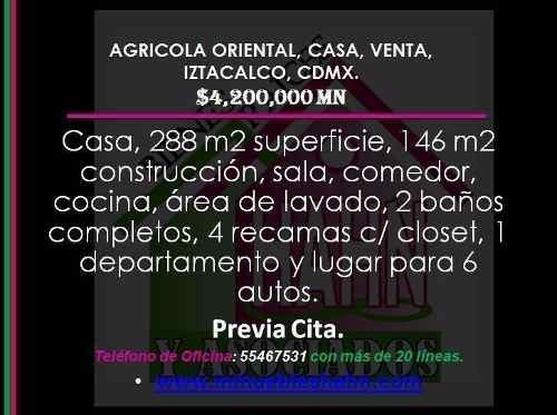 Agricola Oriental, Casa, Venta, Iztacalco, Cdmx.
