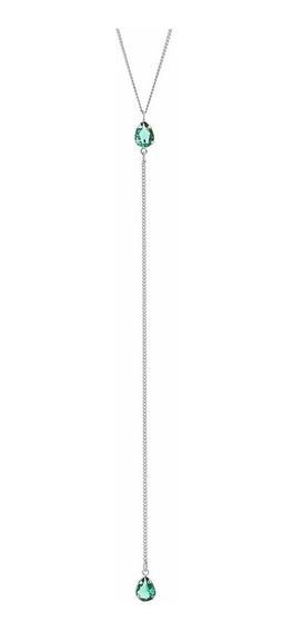 Colar Longo Pedra Verde Banho Ouro Branco Rommanel 130380