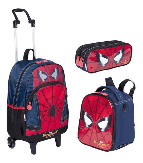 Kit Mochilete Homem Aranha Spiderman 18 + Estojo + Lancheira