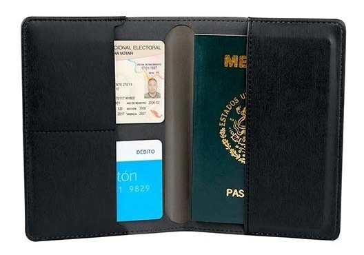 Porta Pasaporte Oxford Compacta Practica Elegante Con Placa