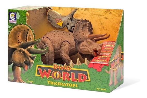 Dinossauro Dino World Triceratops Com Som Cotiplás