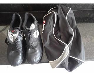 Zapatos Tacos De Fútbol Con Bolso Y Canillera 40vrdes