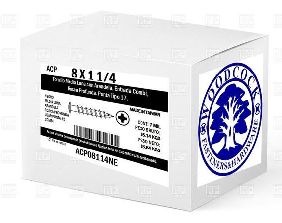 Caja Con 7 Millares Tornillo Negro 8 X 1 1/4 Media Luna