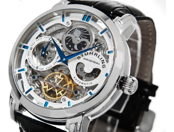 Reloj Hombre Stuhrling Automatico Skeleton Anatol 371.01