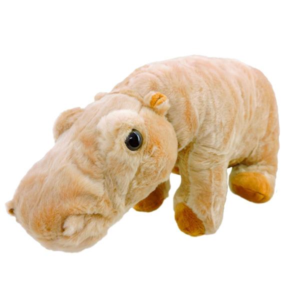 Pelúcia Hipopótamo Safári Caramelo Com 33 Cm De Comprimento