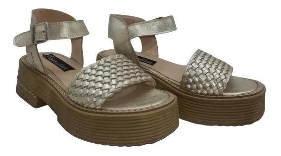Sandalia Cuero Trenzada Base De Goma Zapato Mujer Moda 1440