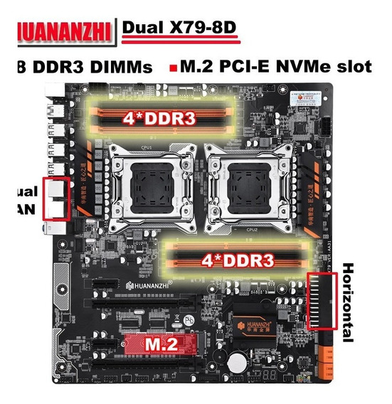 Placa Mãe Gaming Dual Socket Lga2011 Huanan Huananzhi X79-8d