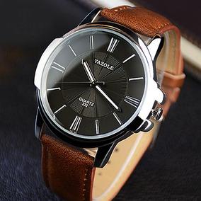 Relógio Yazole Masculino Luxo Pulseira Couro Marrom Social