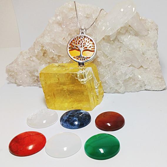 Corrente Com Pingente E 7 Pedras Naturais-dourado Ou Ródio