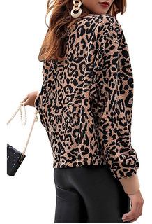 Leopardo Impresso Overpull Knit Top
