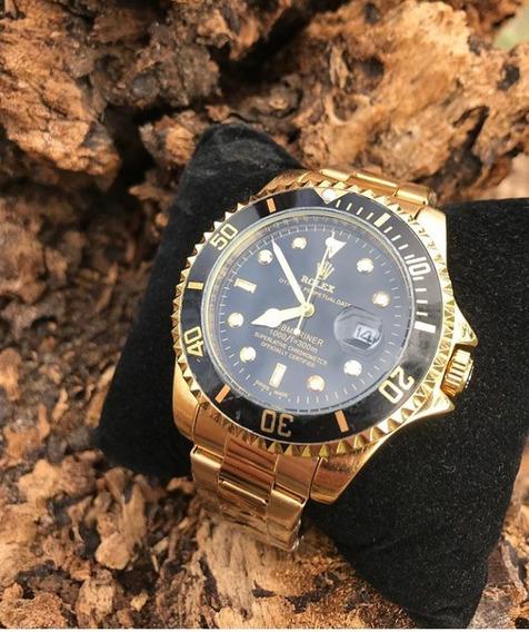 Relógio Masculino Vip Submariner Gold Aço + Caixa