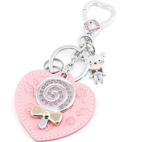 Chaveiro Com Pingente - Rosa - Urso, Coração E Pirulito