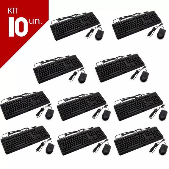 Kit 10 Mouse Usb Optico E 10 Teclado Usb Multimidia Preto