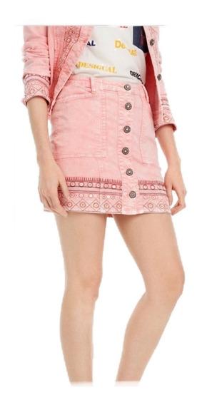 Falda Desigual Mezclilla Rosa