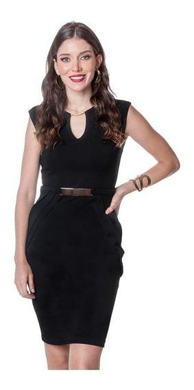Vestido Dama Negro Devendi Con Herraje En Cintura Y Cuello