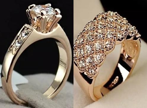 Anéis Com Zircônia Folheados Ouro 18 K Rosé