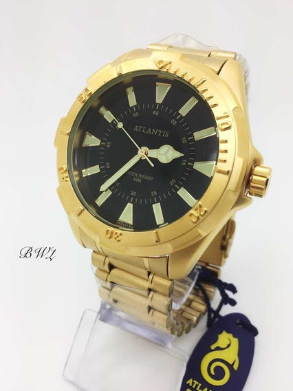 Relógio Atlantis Masculino A3482 Dourado Preto Analógico