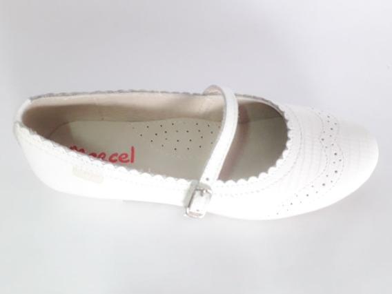 Marcel Comunión Zapato Chatita Blanco Cuero Hebilla