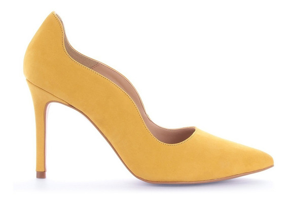 Scarpin Anandra Nobuck Amarelo