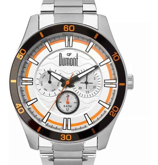 Relógio Dumont Masculino Analógico Prata Original + Nf