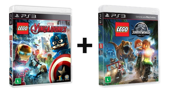 Combo Lego Marvel Vingadores + Jurassic World - Ps3 - Novo