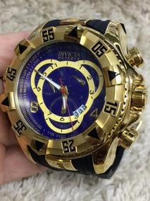 Relógio Masculino Grande Preto Fundo Azul - Frete Grátis