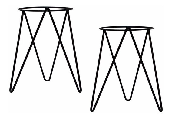 Kit 2 Suportes Para Vaso De Chão Tripé Ferro Jardinagem
