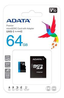 Micro Sdxc 64gb Adata V10 C10 A1 Videos Full Hd Envío Gratis