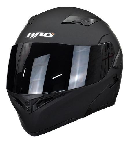 Imagen 1 de 10 de Casco Para Moto Abatible Hro 3400dv Negro Mate Con Luz Stop