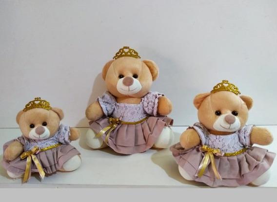 Trio Ursinhas Nicho Princesa Bailarina 15cm 18cm 22cm