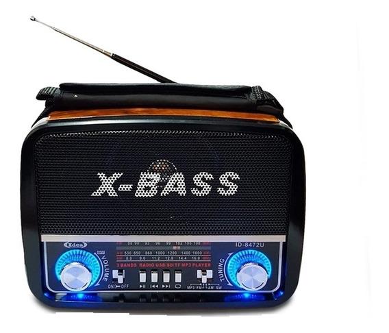 Radio Caixa De Som Am Fm Usb Sd Mp3 Retro Madeira Lanterna