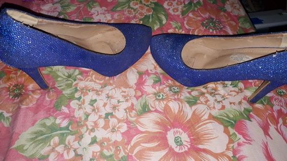 Zapato De Fiesta En Color Azul Talle 38