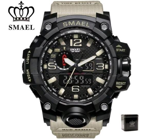 Relógio Smael Original Cacki Caixa Tatico Militar Provdagua