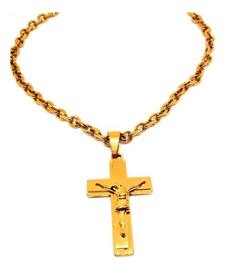 Corrente Banhada Ouro 18k Elo Media 70cm Com Pingente Cristo